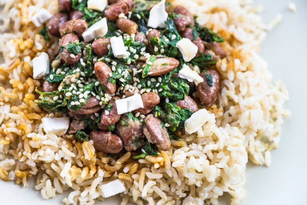Brown Rice with Kidney Beans. Healthy Lunch