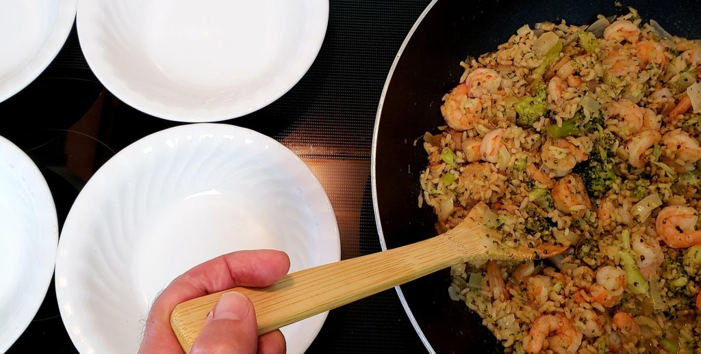Lunch today was last nights leftovers transformed into shrimp fried rice...