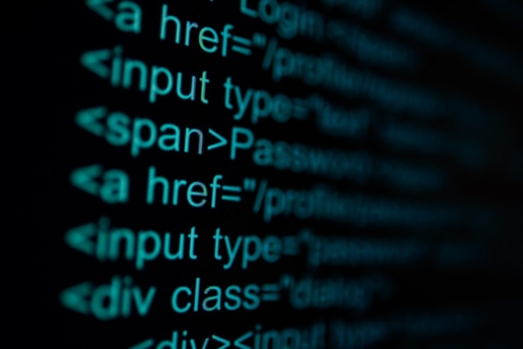 Programming code abstract technology background of software developer.