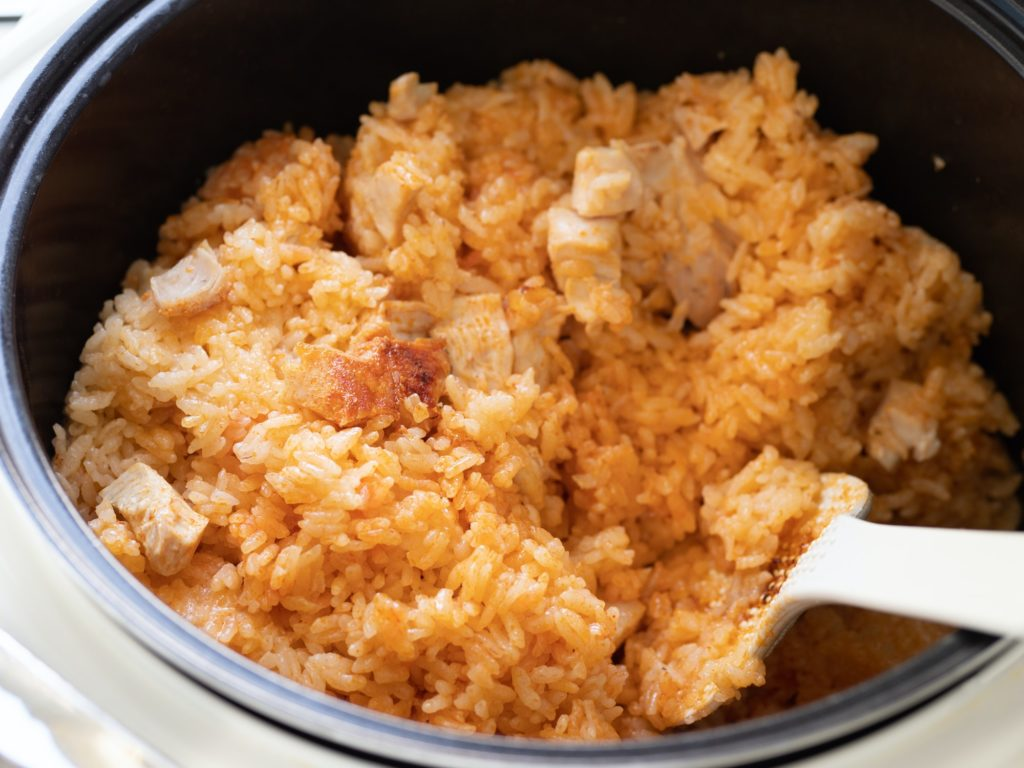 Rice with turkey meat cooked in instant pot